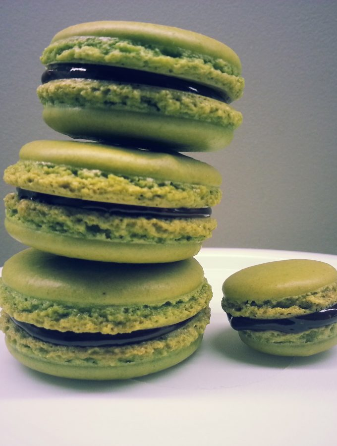 Matcha Green Tea Macarons with Dark Chocolate Ganache