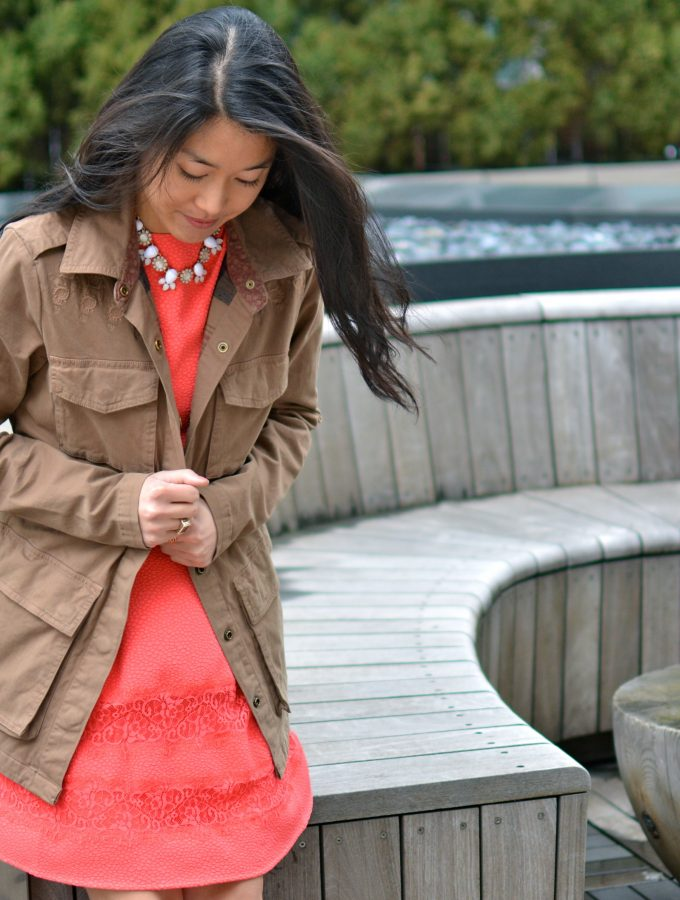 Utility Jacket and Coral Sneaks