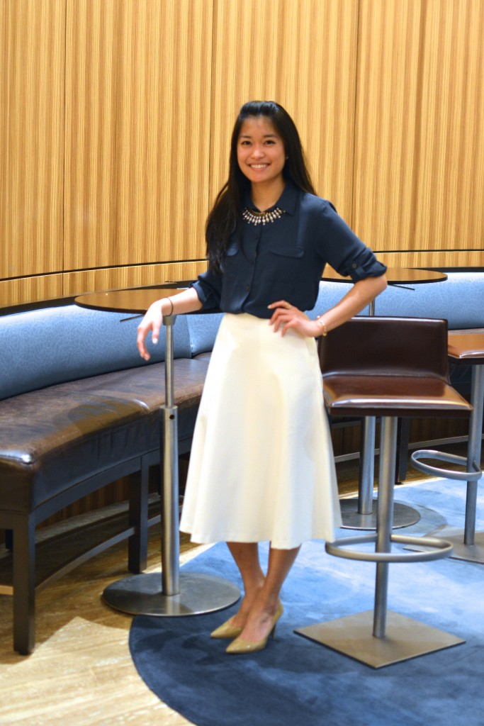 Midnight Blouse and Cream Midi Skirt