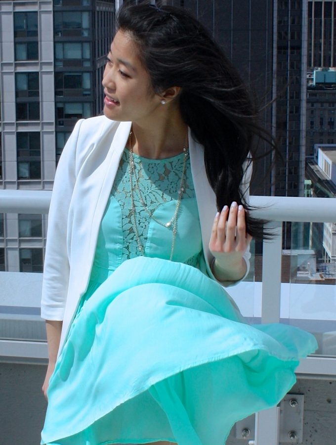 Mint Lace Dress and White Accents