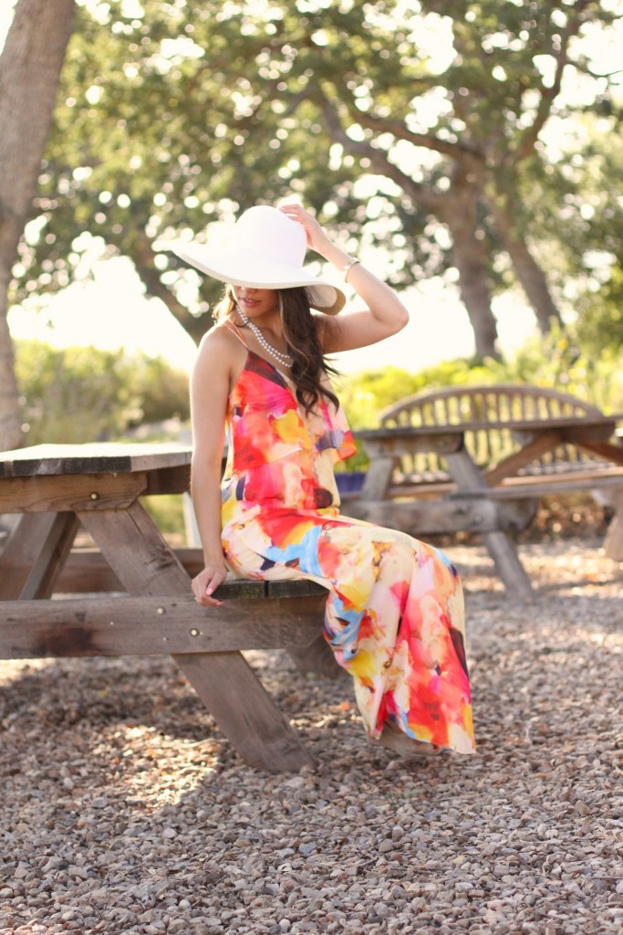 Multicolored Flounce Top Maxi