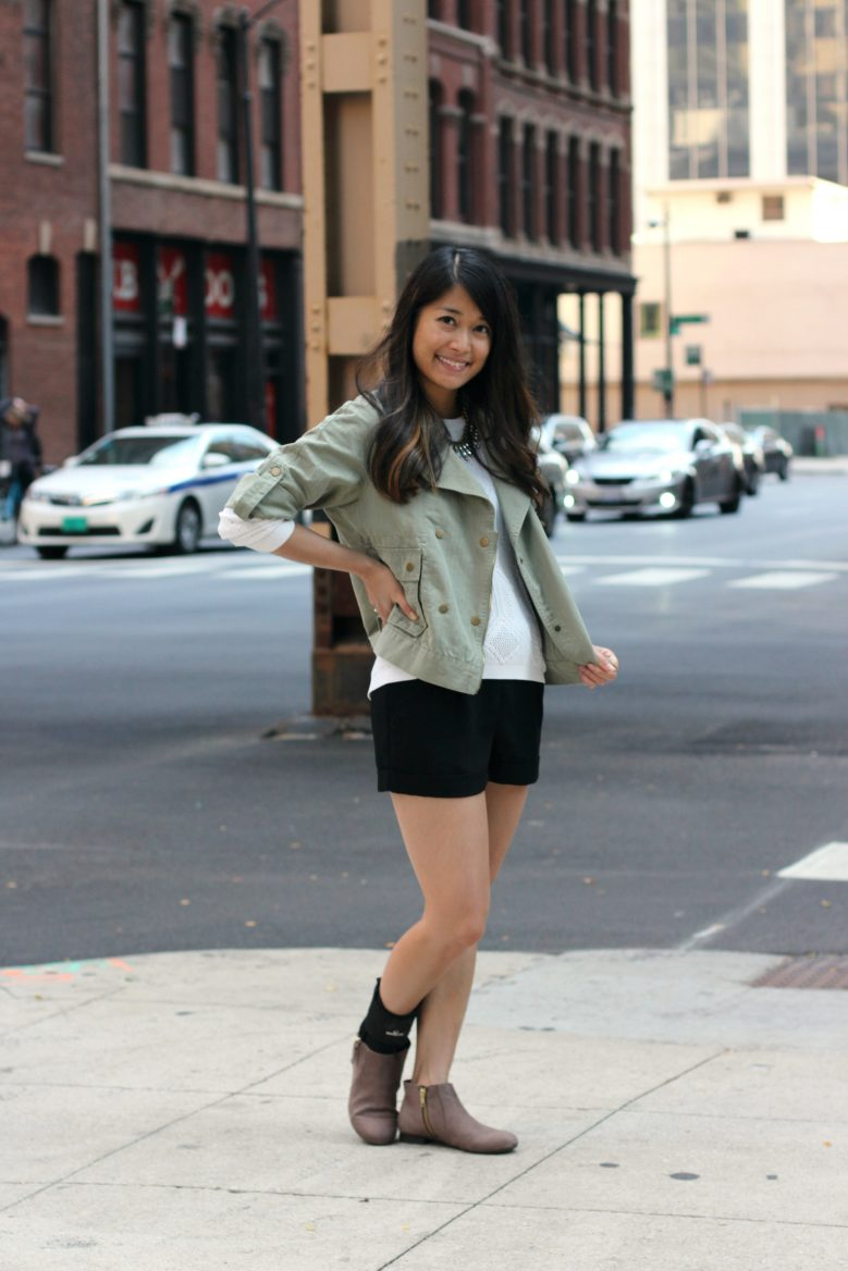Matcha Cropped Moto + White Sweater + Suede Booties