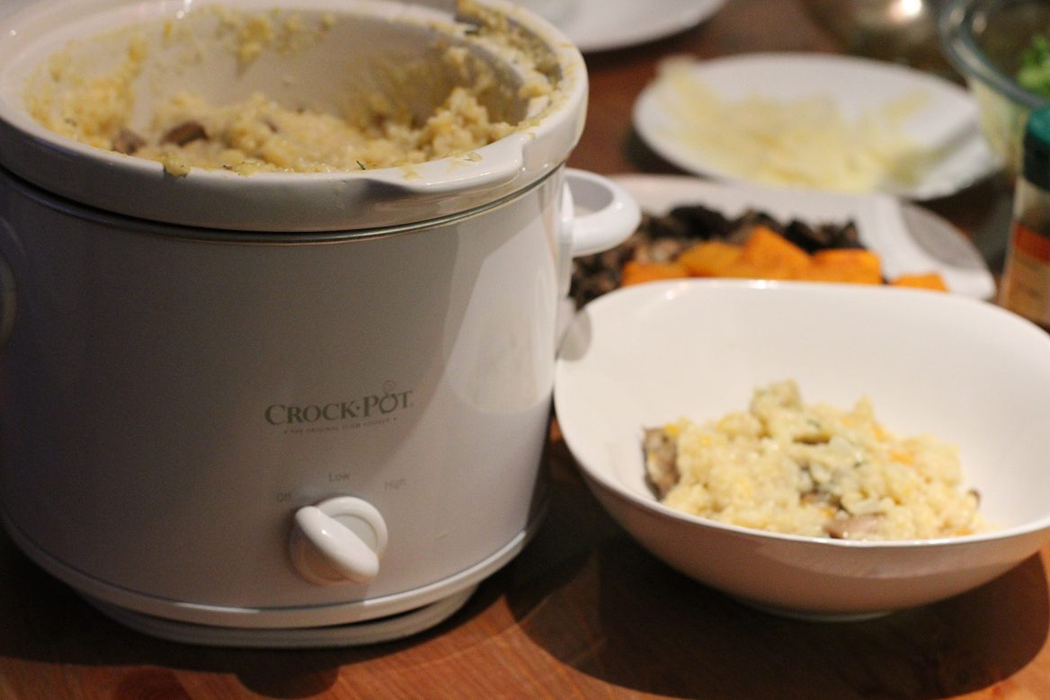 Crockpot Risotto + Butternut Squash and Mushrooms