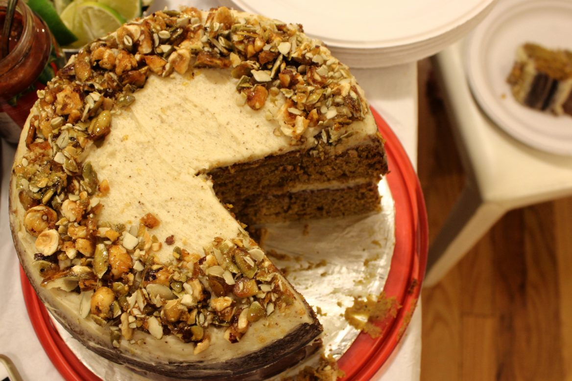 Brown Butter Pumpkin Cake + Hazelnut Crunch + Cream Cheese Frosting