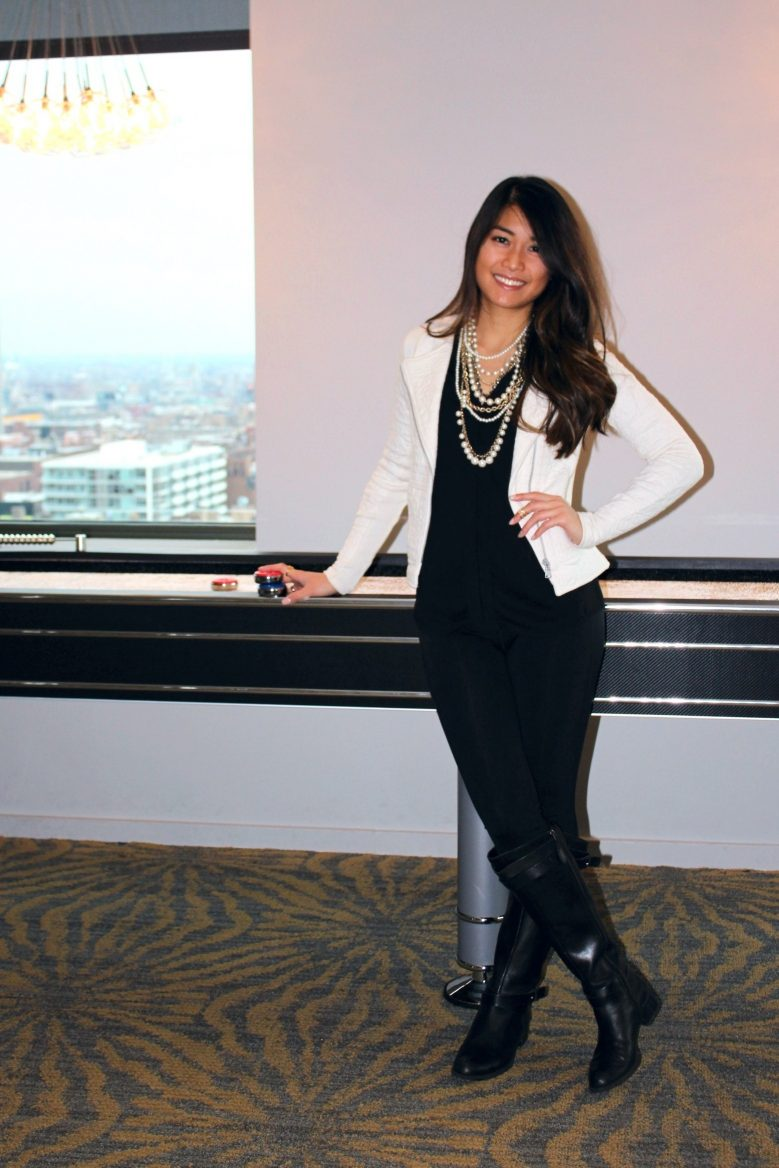NYE Casual: Ivory Moto Jacket + Black Silhouette + Pearl Statement