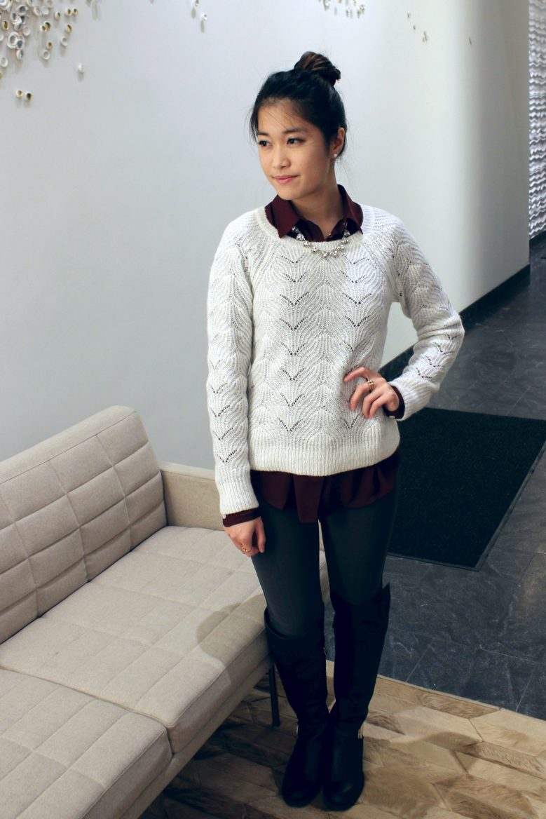 Woven Sweater + Collared Button Up + Over-the-knee Boots