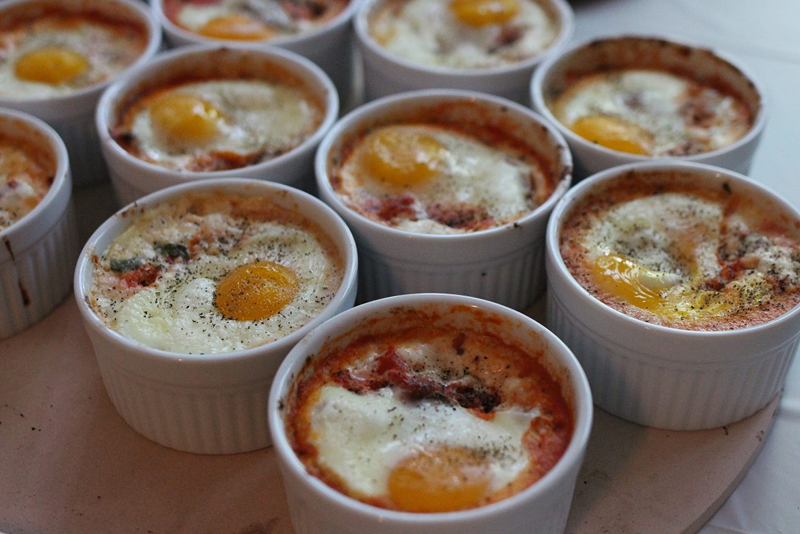 Baked Eggs Caprese Ramekins