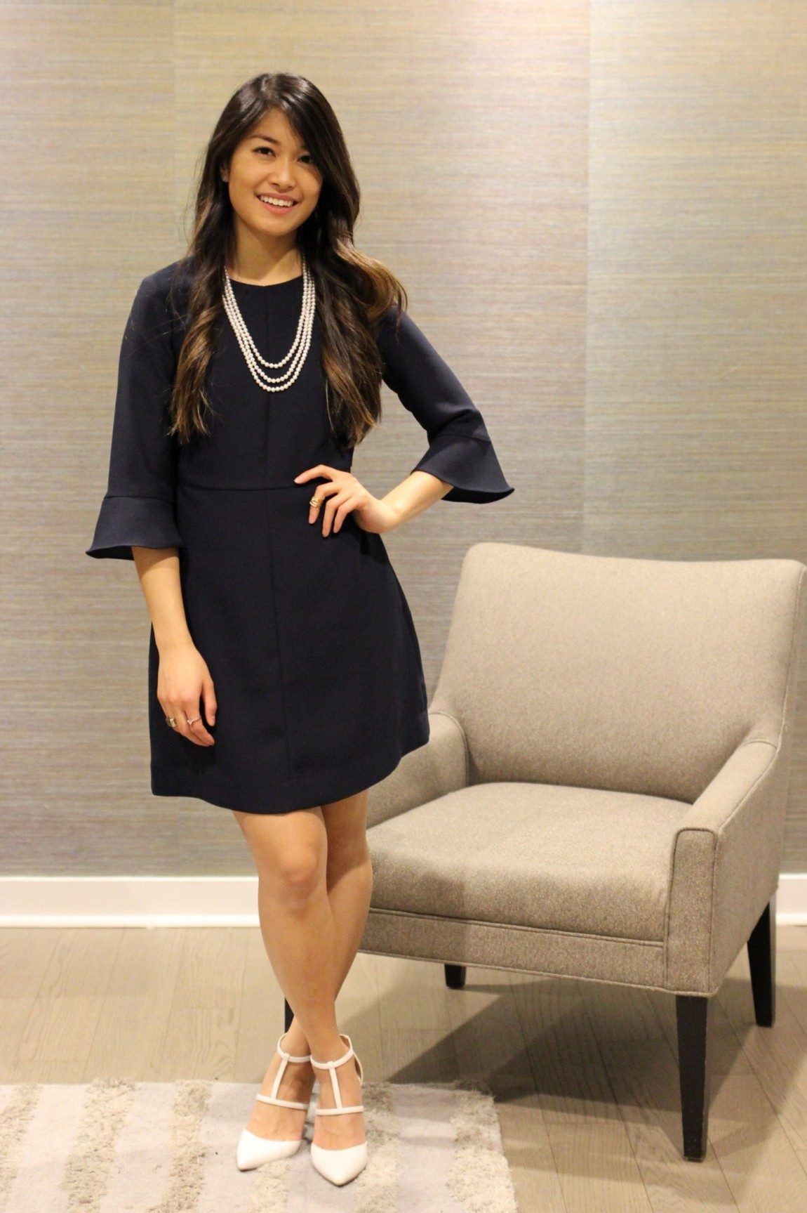 Petal Sleeve Navy Dress + Cultured Pearl Accents