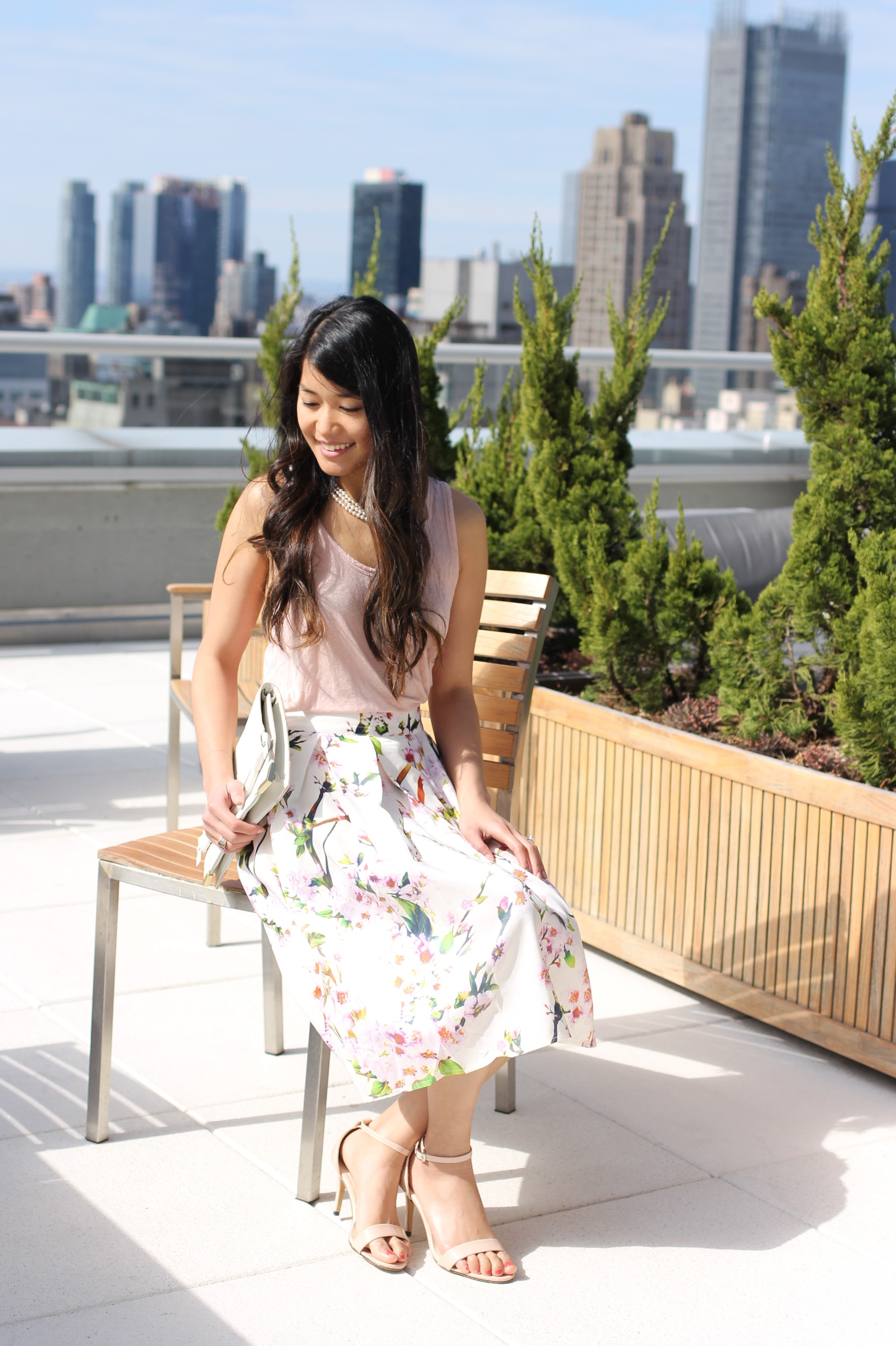 Springtime Floral Skirt + Pearl Accents