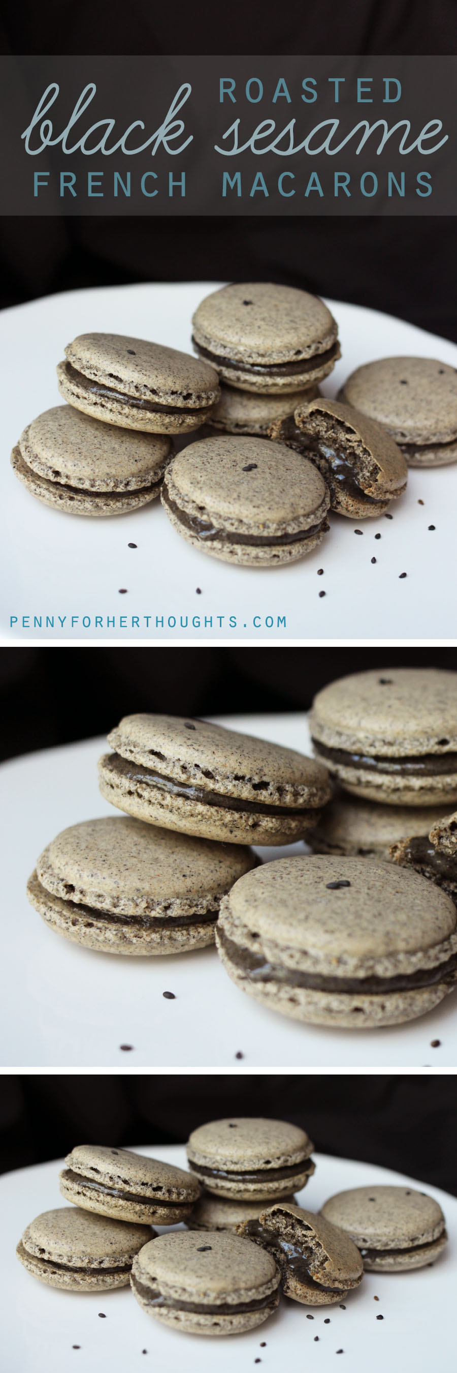 Roasted Black Sesame Macarons