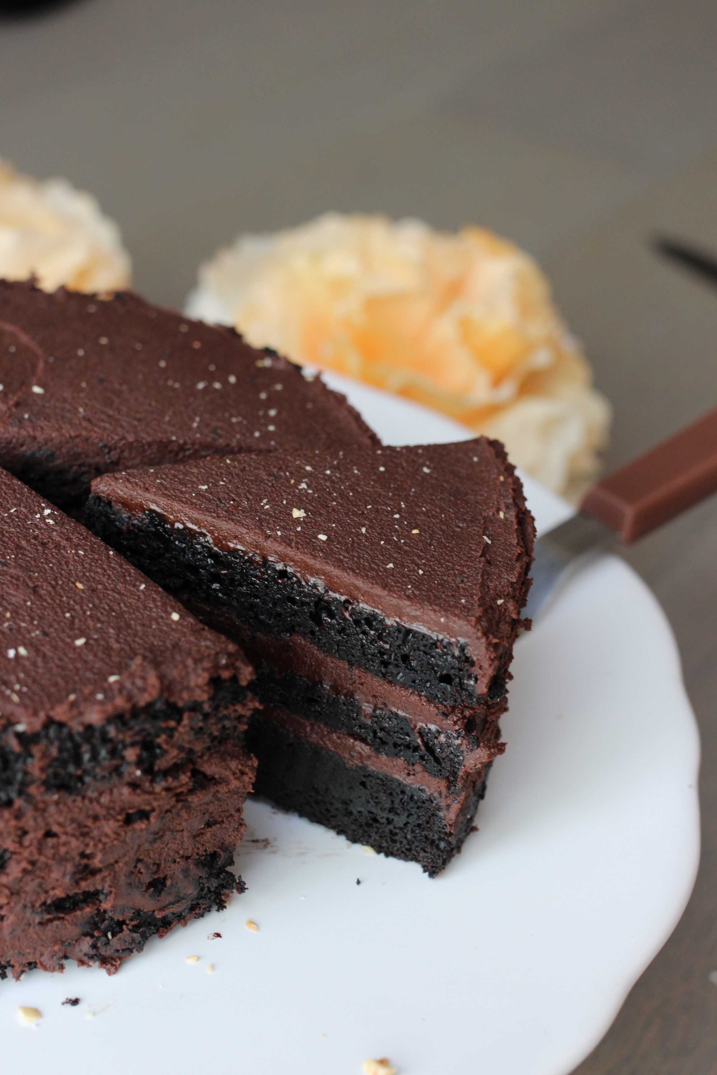 Dark and decadent, this is a VEGAN take on a classic chocolate layer cake featuring a whipped coconut milk ganache frosting. Yum!