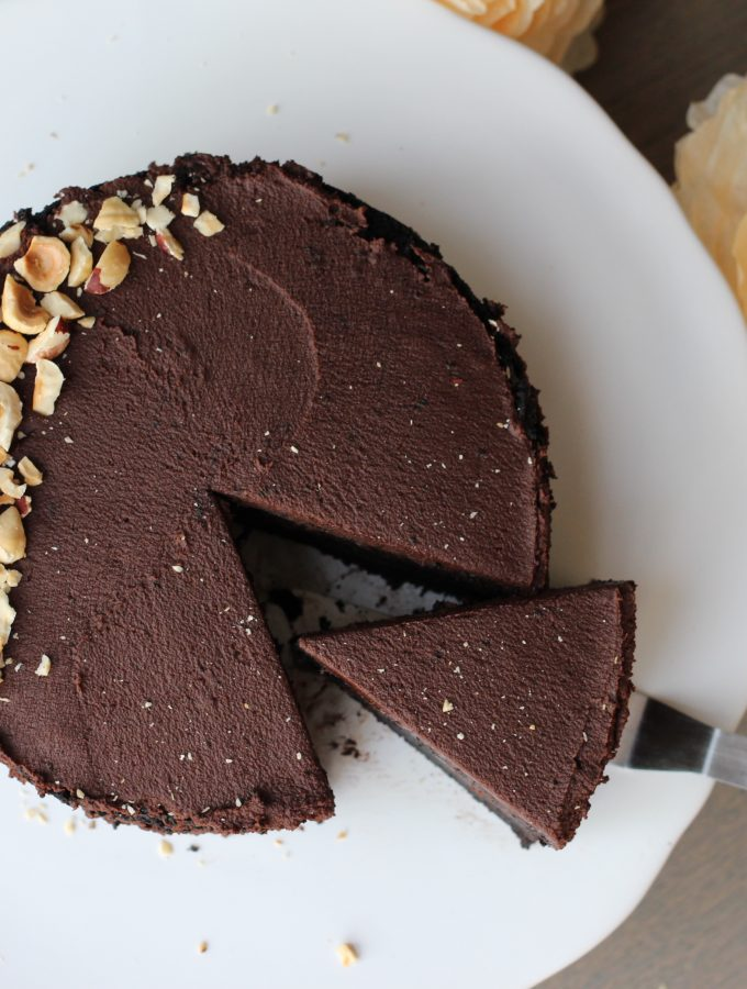 Vegan Dark Chocolate Layer Cake + Whipped Ganache Frosting