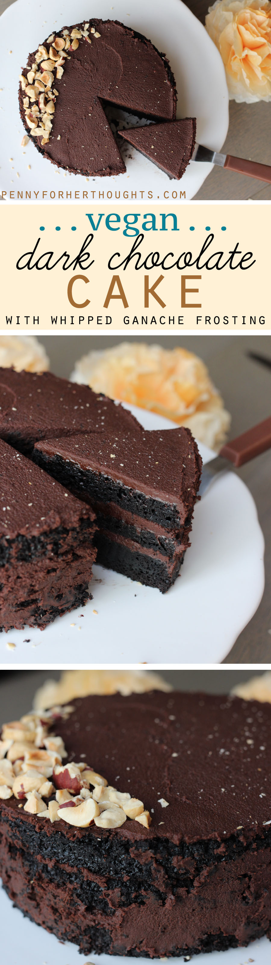 Vegan Dark Chocolate Cake + Whipped Ganache Frosting