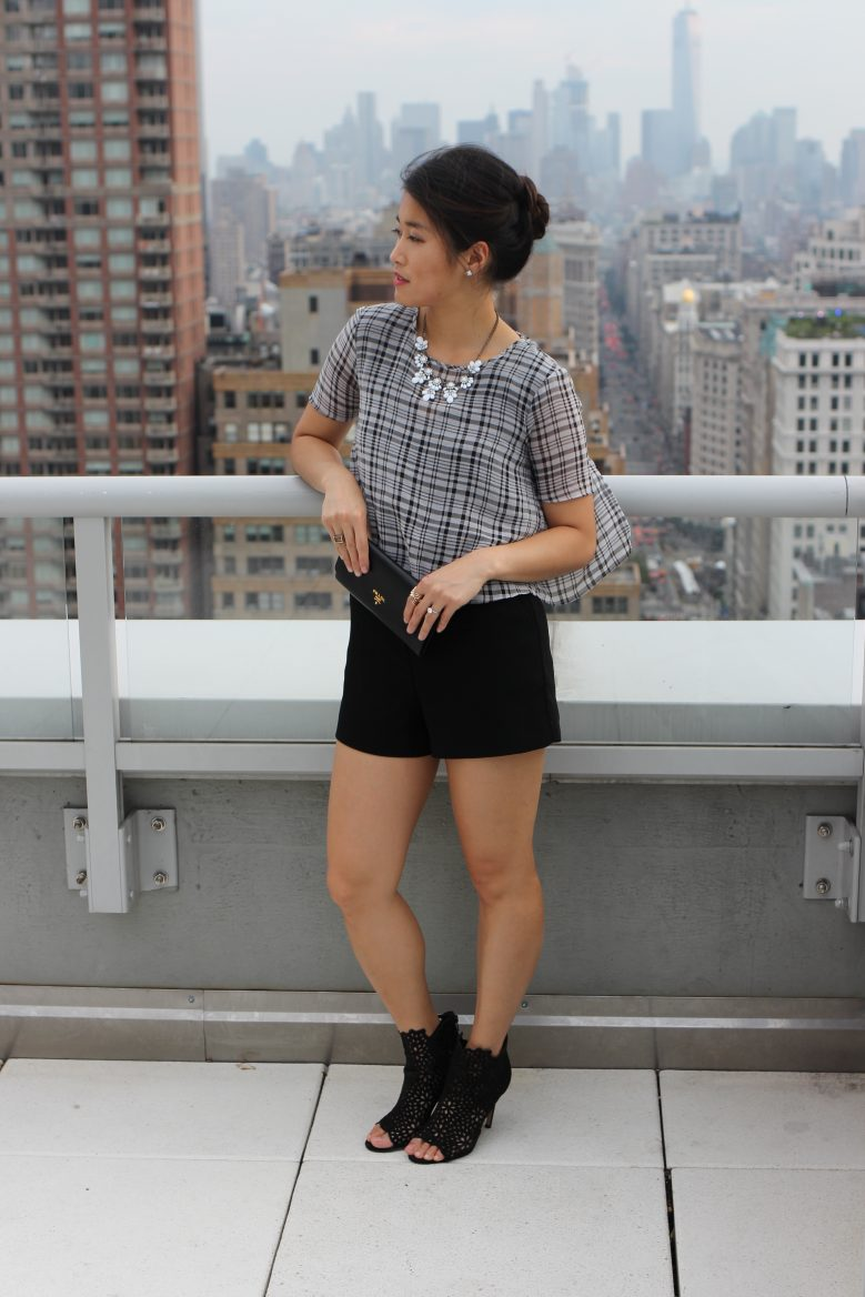 Plaid Open-Back Romper + Cage Booties
