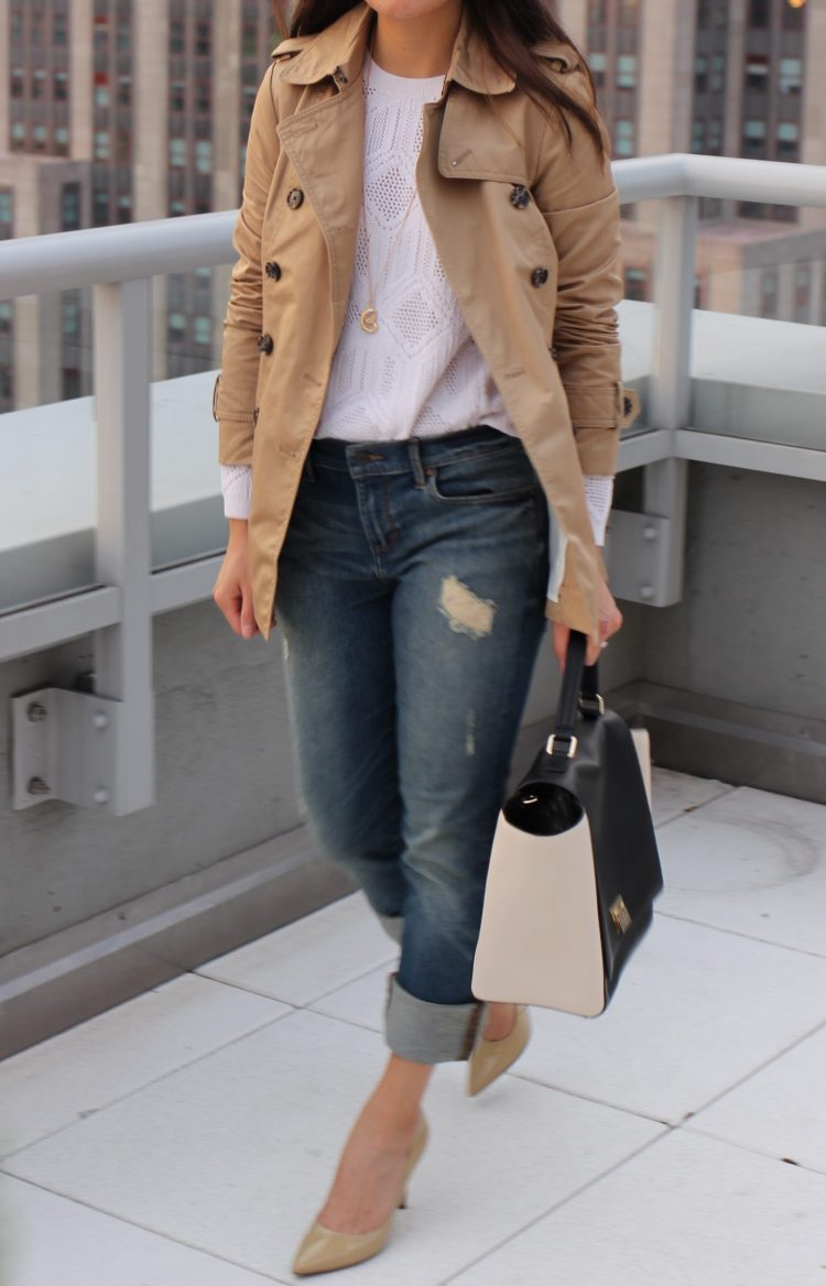 Peplum Trench + Relaxed Jeans