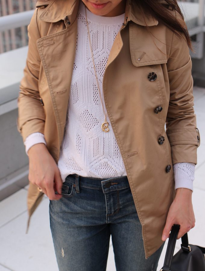 Peplum Trench + Distressed Jeans