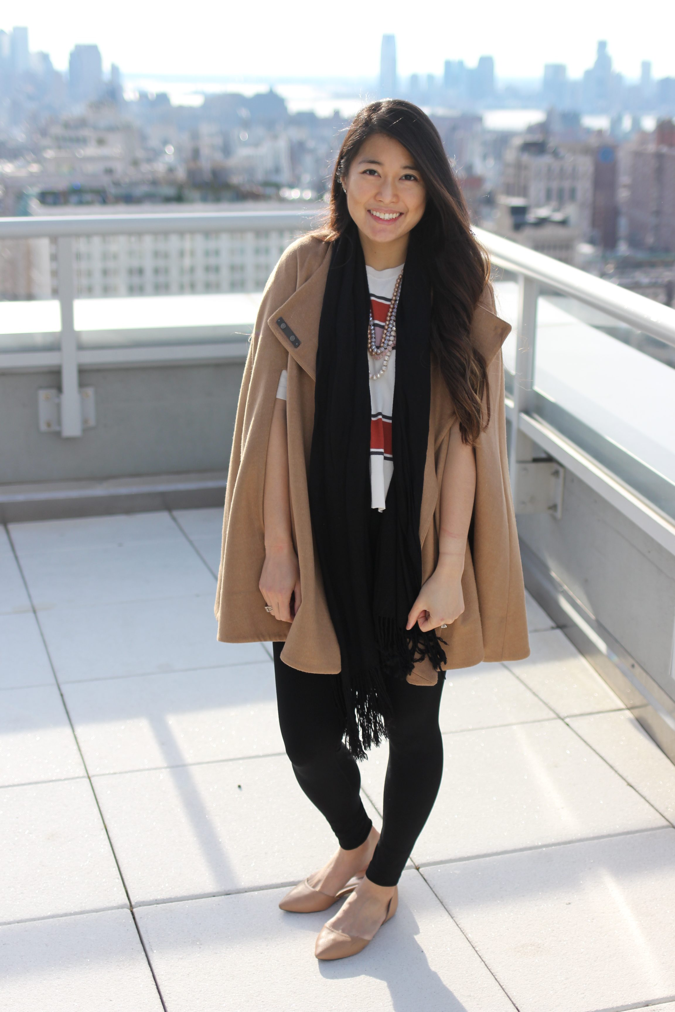 Camel Cape Coat + Gingerbread Striped Top