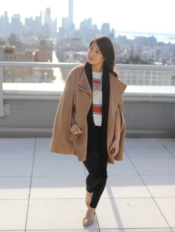 Camel Cape Coat + Gingerbread Striped Crop