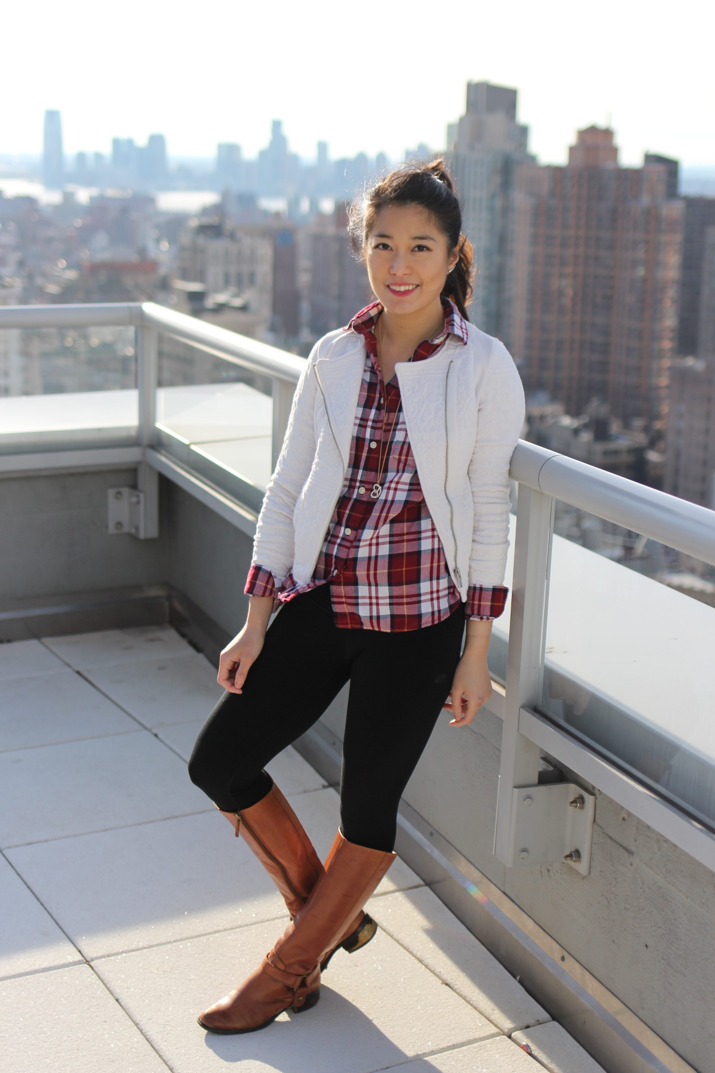Holiday Plaid + Cream Jacquard Moto