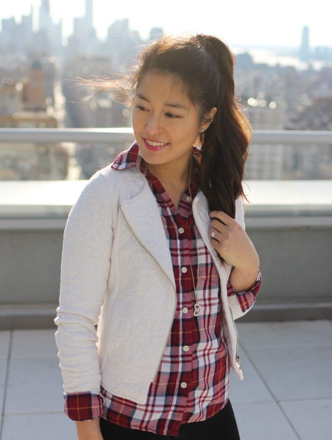 Holiday Plaid + Ivory Moto Jacket