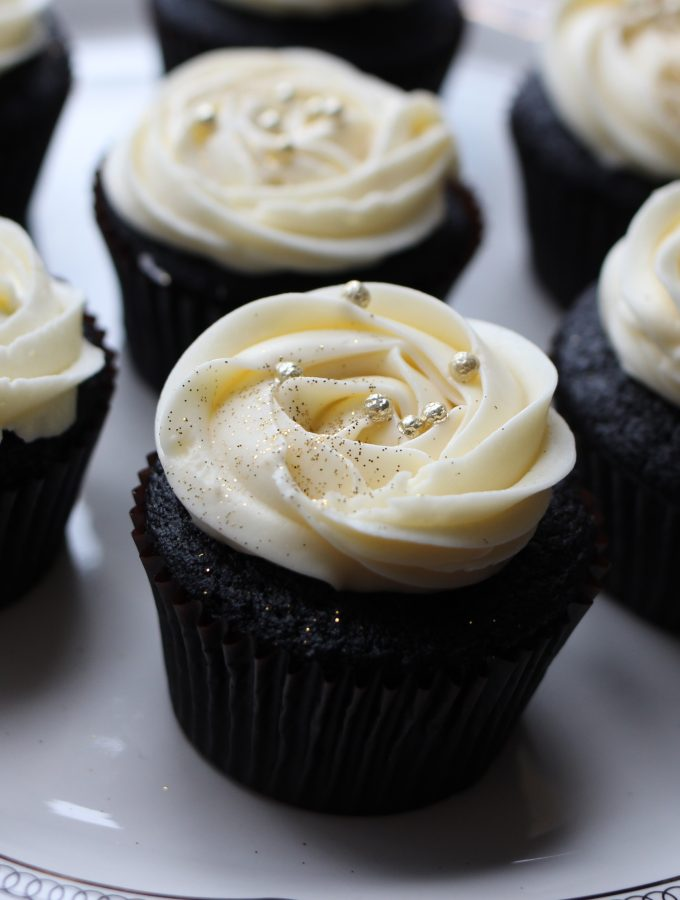 Black and Gold Chocolate Stout + Champagne Frosting Cupcakes