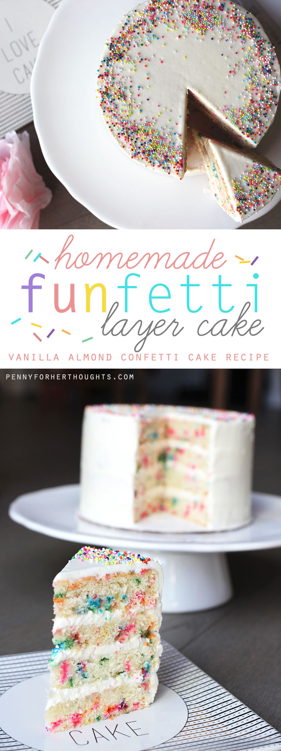 A delicious homemade funfetti cake is a made-from-scratch version of a childhood favorite, bursting with color for the perfect birthday or celebratory cake!