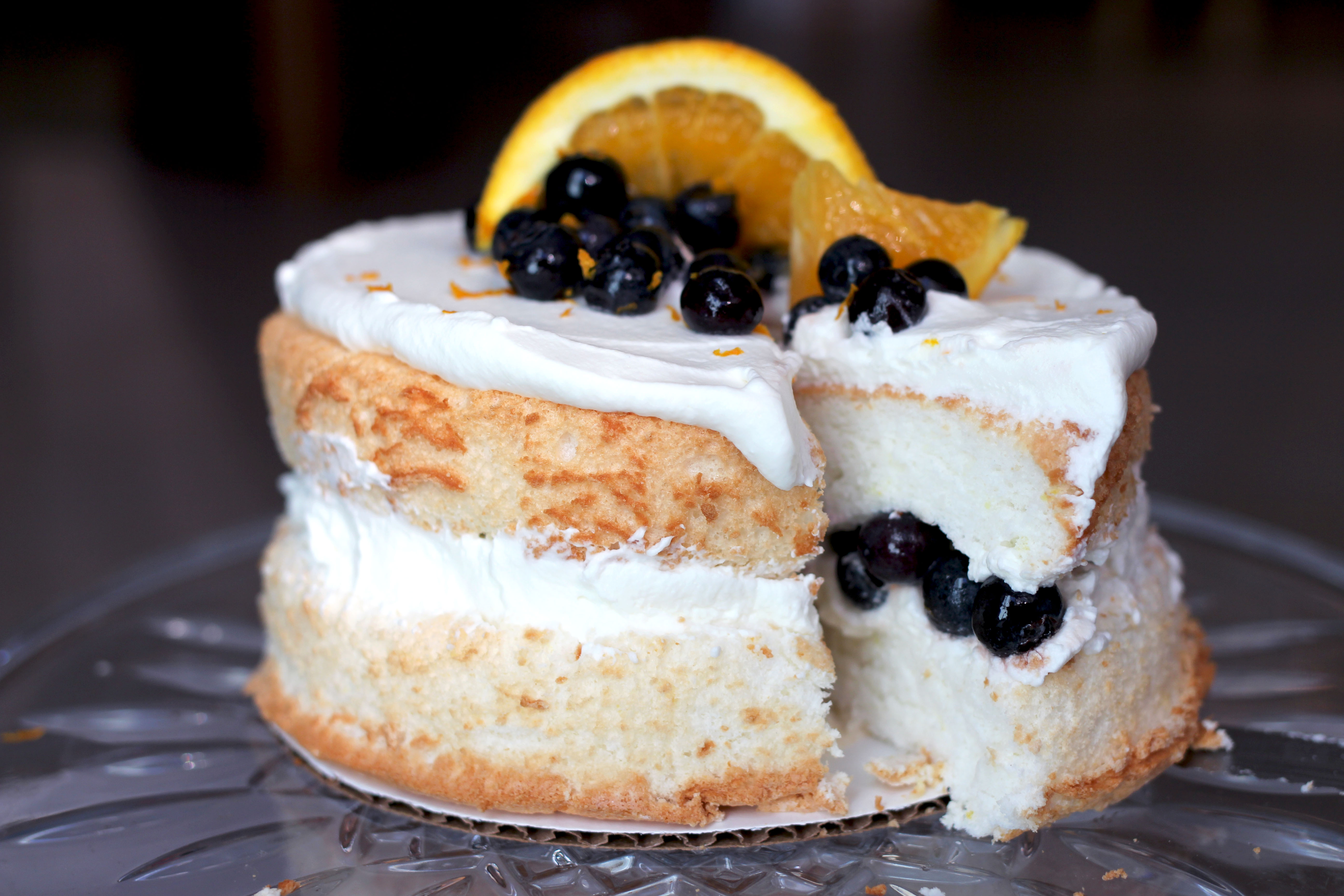 Mini Angel Food Layer Cake With Blueberry And Orange