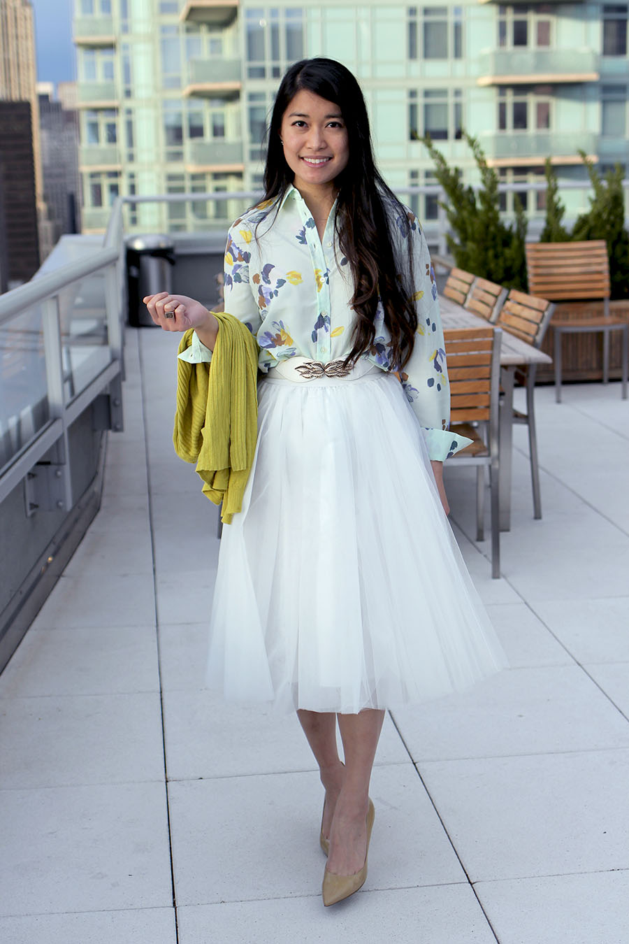 Bright whites, soft pastels, floral print, and flowing tulle makes for a perfect Easter outfit.