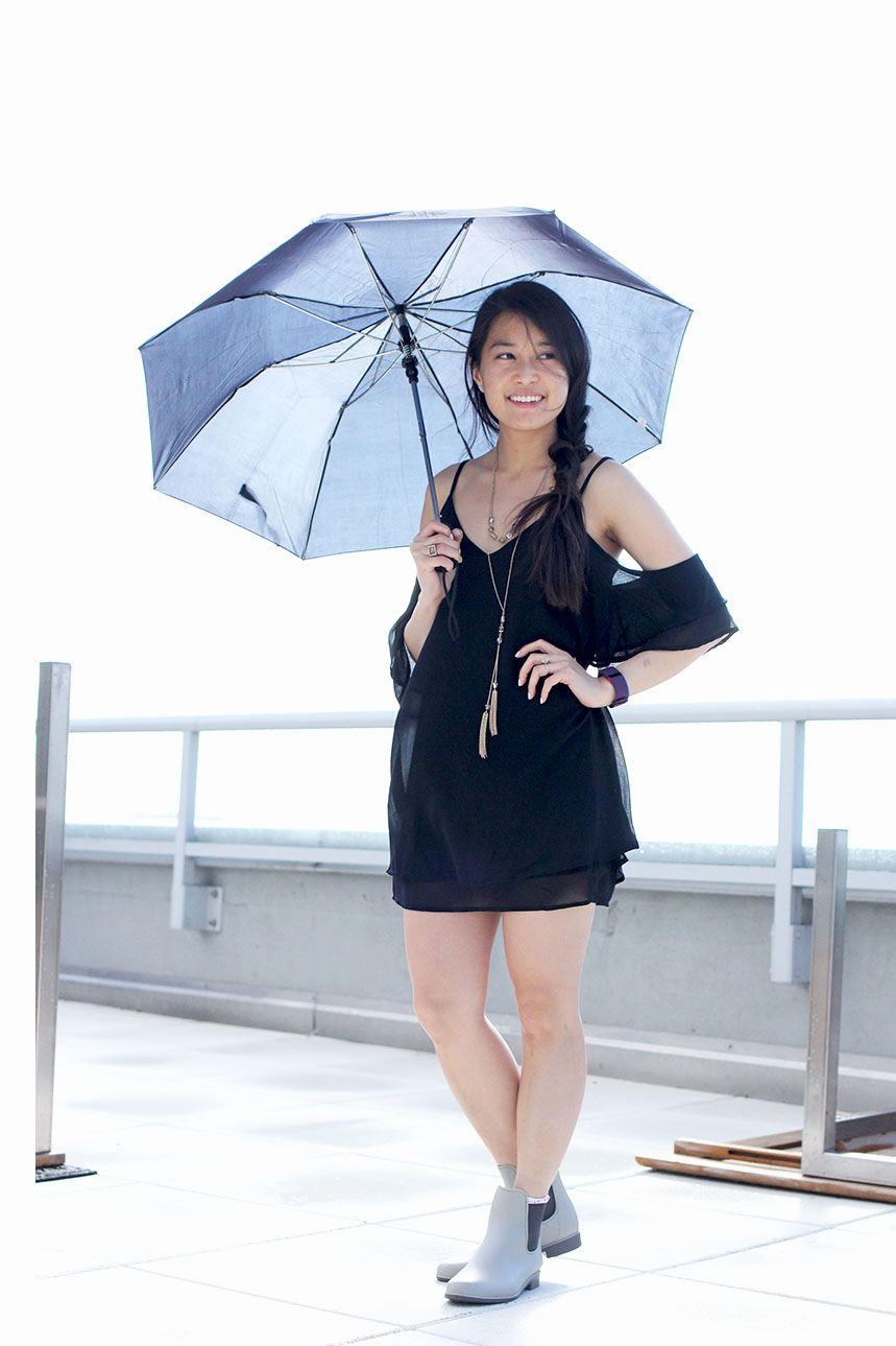 A versatile summer staple, this cute and fashionable little black dress features a cold shoulder and stylish ruffles. From Tobi.