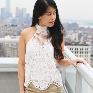 A cute and flirty lace halter top perfect for summer outings! Styled with khaki shorts and crochet espadrille wedges. From Tobi.