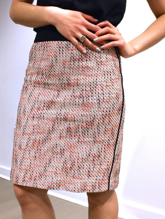 Pink Tweed Pencil Skirt: Business Casual