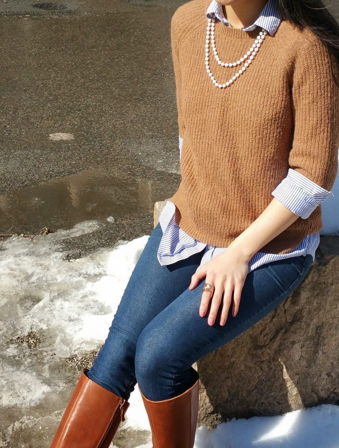 Light layers, brown sweater and boots