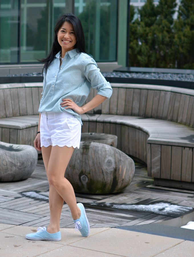 Something borrowed, something blue: Chambray Top and Scalloped Shorts
