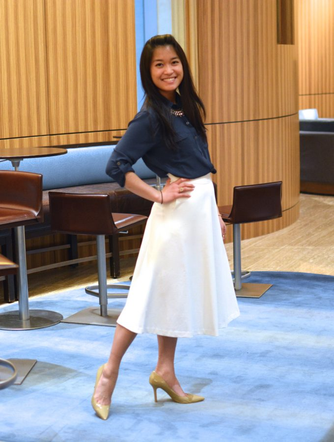Midnight Blue Blouse and Ivory Midi Skirt