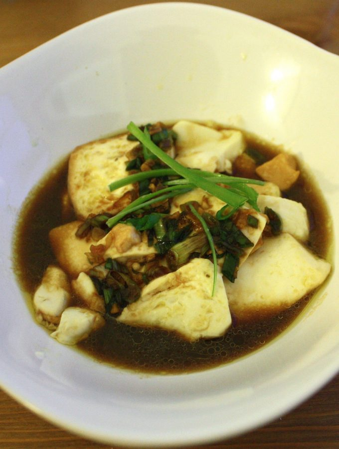 Pan-Seared Silken Tofu with Scallion Soy Sauce