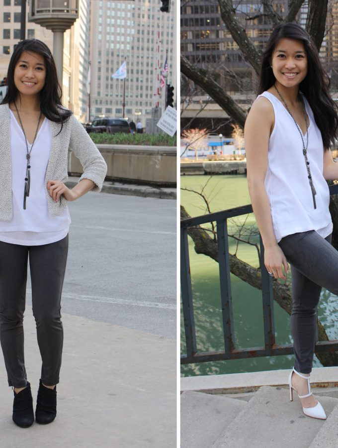 White Top with Gray Accents, Day to Night Gradient