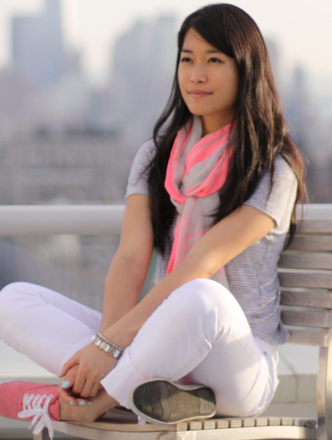 Pink Accents with a Gray Tee and White Cropped Pants