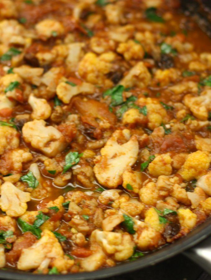 Pan Roasted Cauliflower in Tomato Sauce