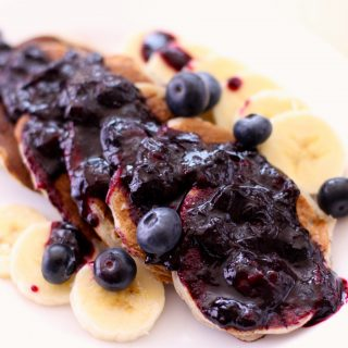 Mini Banana Pancakes with Blueberry Compote