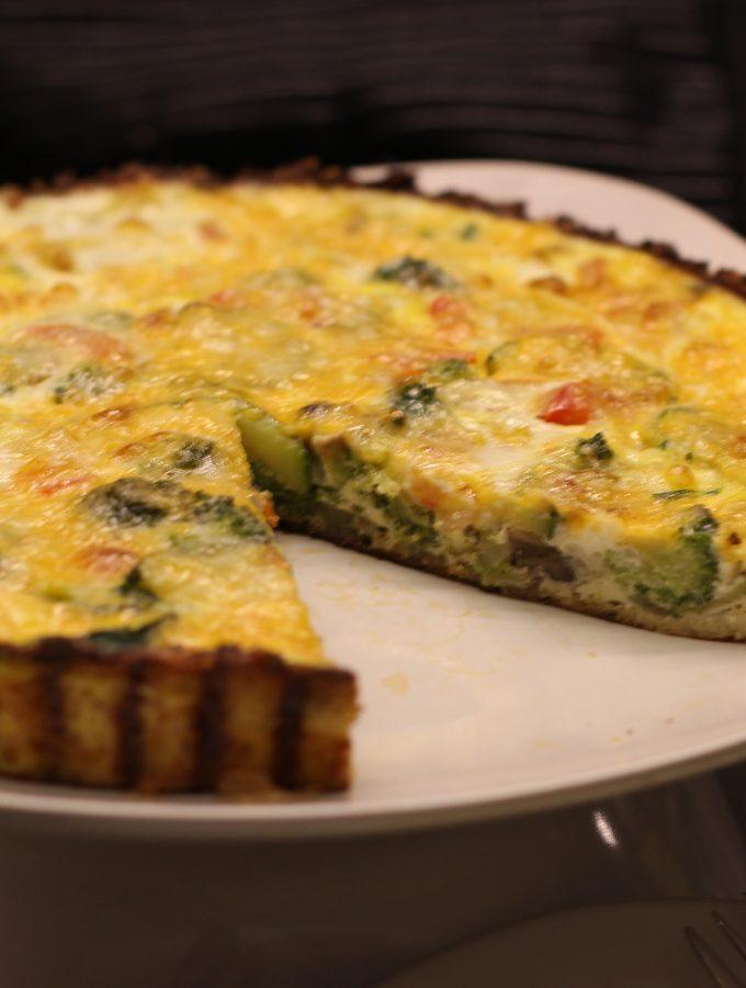 Flourless Veggie Quiche + Cauliflower Crust