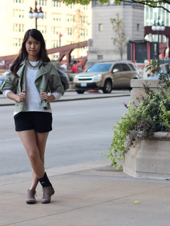 Matcha Cropped Moto + White Sweater + Autumn Booties