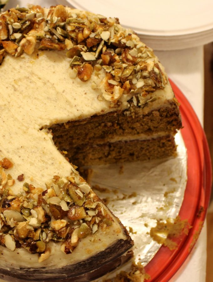 Pumpkin Cake + Hazelnut-Pumpkin Seed Crunch + Brown Butter Cream Cheese Frosting
