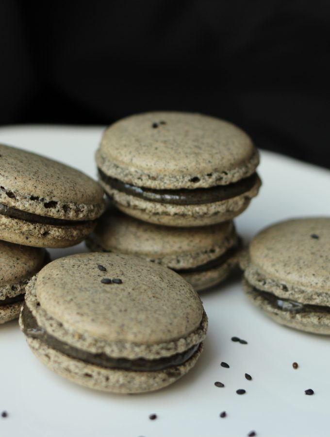 May: Roasted Black Sesame Macaron