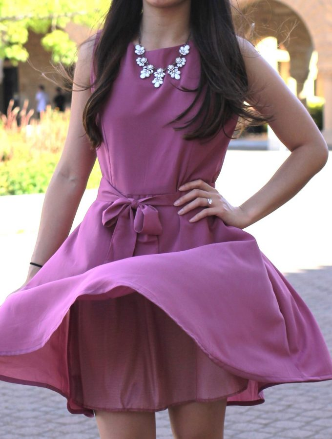 Lilac Chiffon Shift Dress with Belt Sash