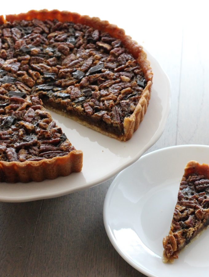 Chocolate Bourbon Pecan Tart