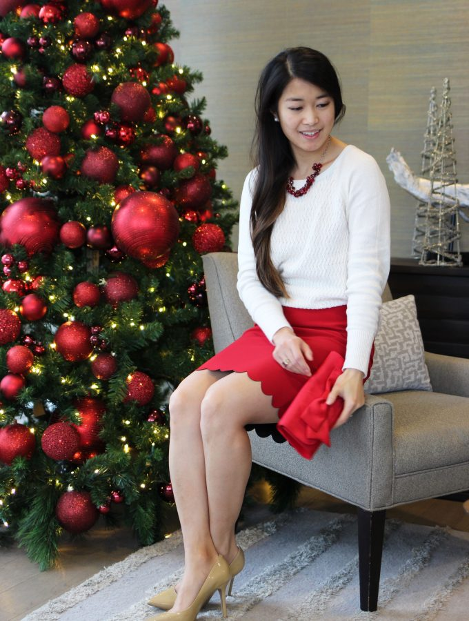 Holiday Outfit Reds + Scalloped Skirt
