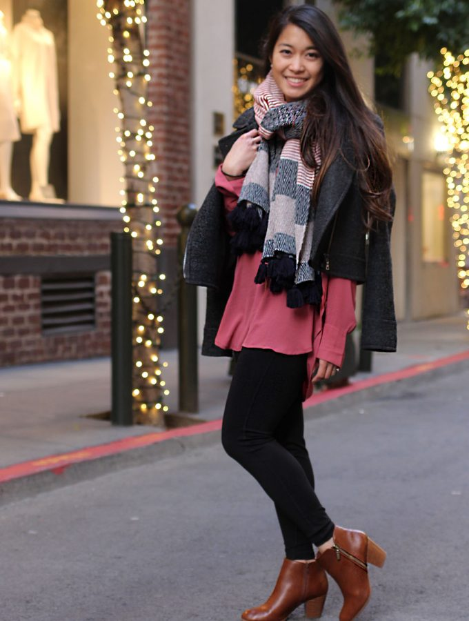 City Chic: Winter Berry Layers + Cognac Booties
