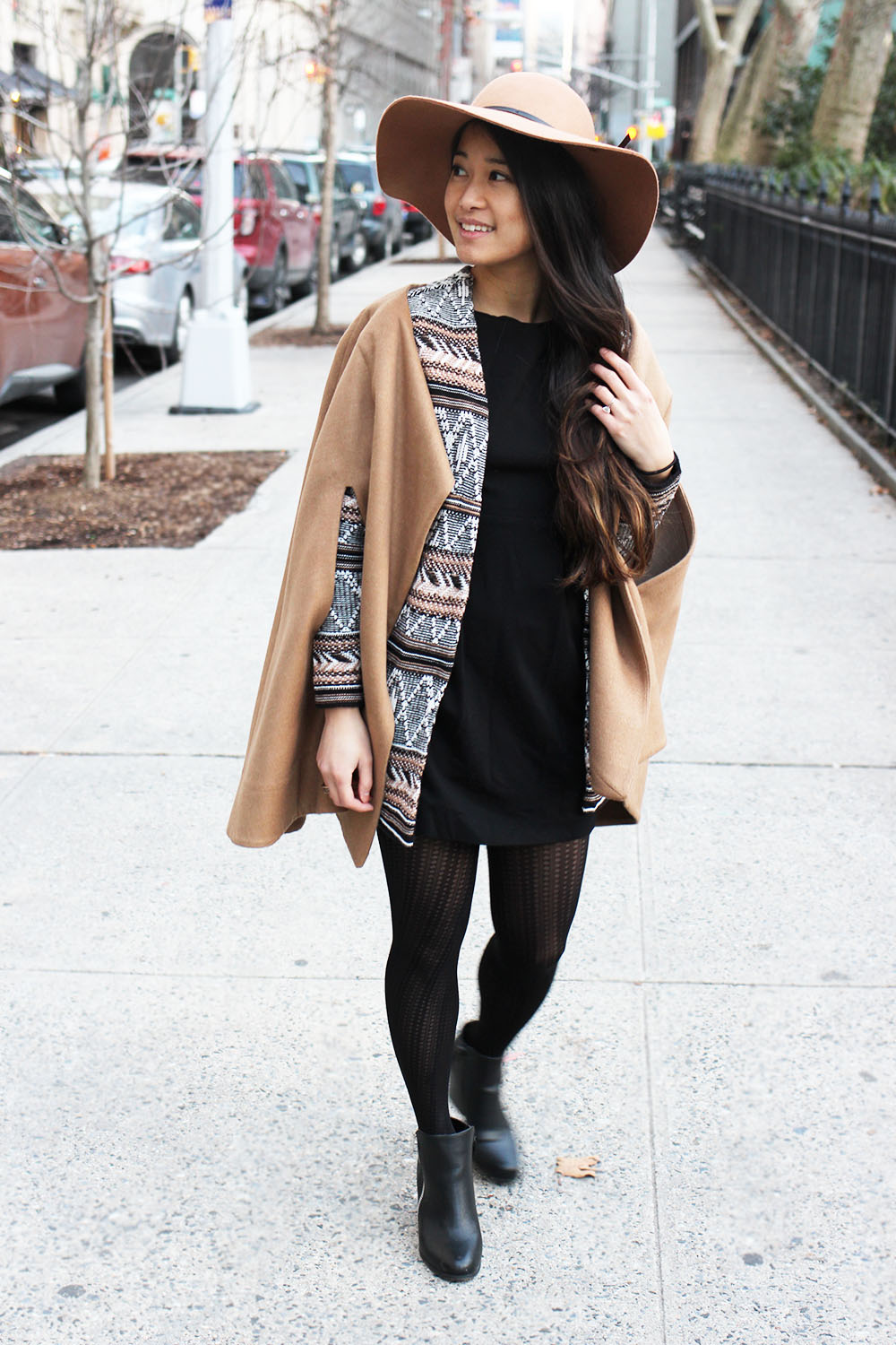 Learn a few tips and tricks for selecting pieces for an outfit and making mornings easier! Featuring a city chic outfit with camel colored drape-y layers.