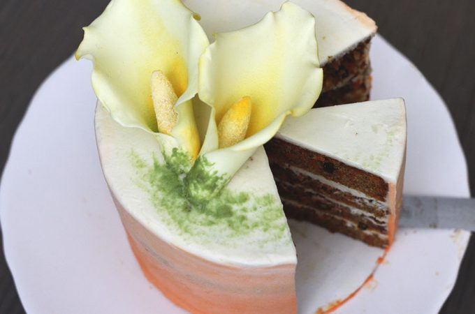 This orange ombre carrot cake is a modern take on the traditional Easter dessert. Fresh carrots and toasted walnuts make this a guaranteed crowd pleaser!