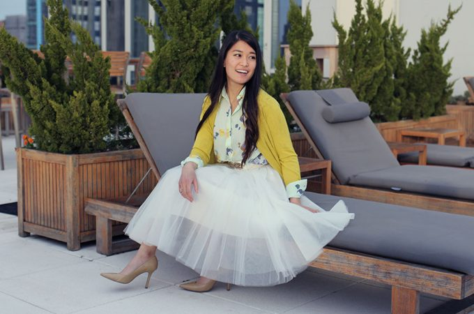 Read about tips and tricks for the perfect springtime and Easter outfit! Think bright whites, colorful pastels, and soft florals, and a fun tulle skirt!